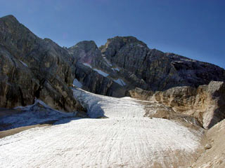 Il ghiacciaio superiore dell'Antelao dai pressi della Forc. del Ghiacciaio