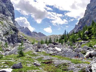 La soglia della Val di Mezzo durante la salita