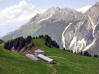 Casera Doàna; sullo sfondo lo Schiavon e la cresta del Crissin
