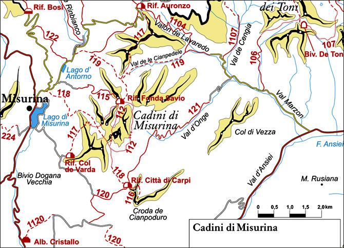 cartina semplificata dei sentieri appartenenti al gruppo Antelao