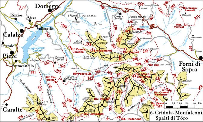 cartina semplificata dei sentieri appartenenti al gruppo Cridola-Spalti di Toro-Monfalconi