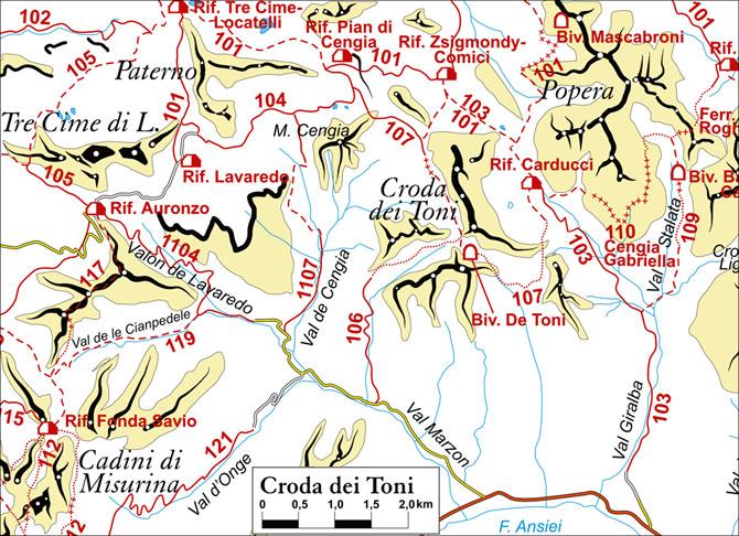 cartina semplificata dei sentieri appartenenti al gruppo Croda deiToni