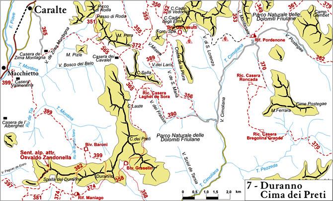 cartina semplificata dei sentieri appartenenti al gruppo Duranno - Cima dei Preti