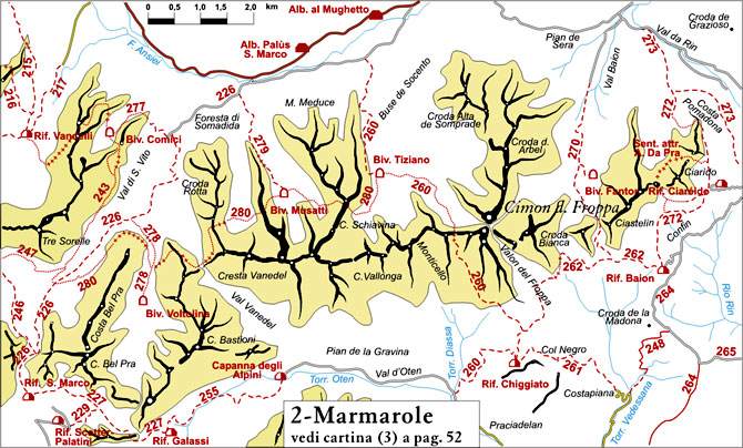 cartina semplificata dei sentieri appartenenti al gruppo Marmarole