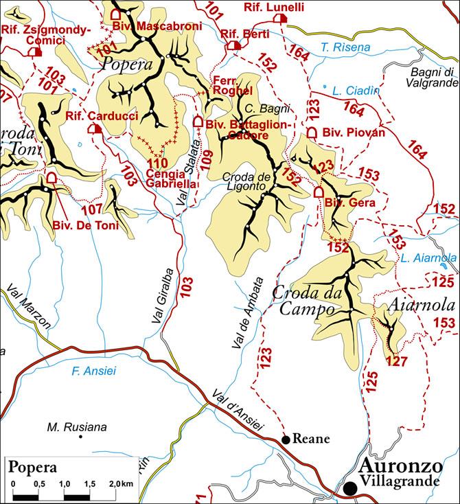 cartina semplificata dei sentieri appartenenti al gruppo Popera
