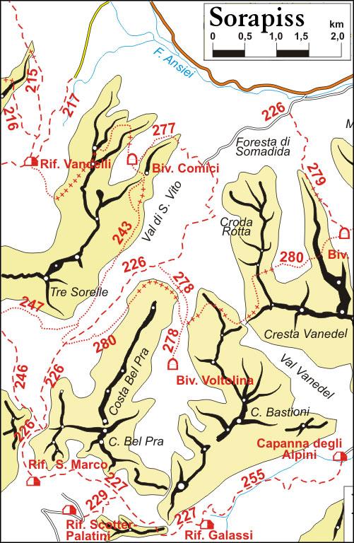 cartina semplificata dei sentieri appartenenti al gruppo Sorapiss