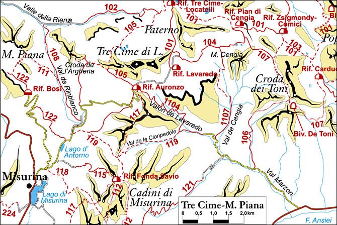 cartina semplificata dei sentieri appartenenti al gruppo Tre Cime - Monte Piana