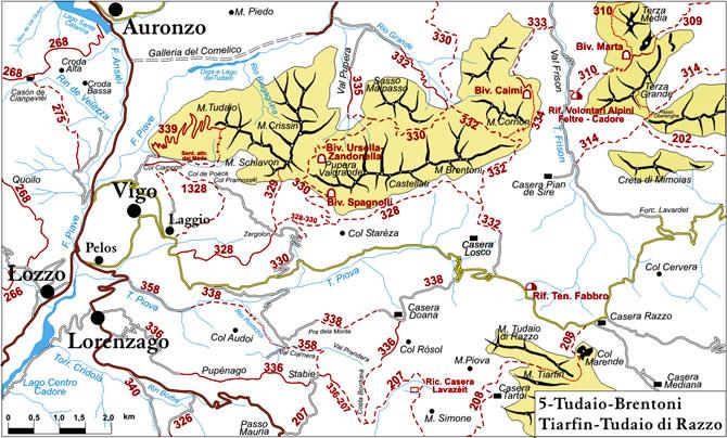 cartina semplificata dei sentieri appartenenti al gruppo Tudaio di Razzo - Tiarfin